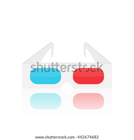 Illustration of vintage 3d glasses isolated on a white background. - stock vector