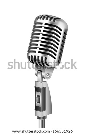 illustration of Vintage Microphone on isolated white background - stock vector