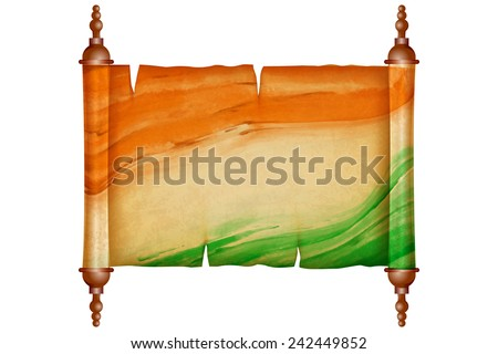 illustration of vintage scroll with antique paper in Indian Flag - stock vector
