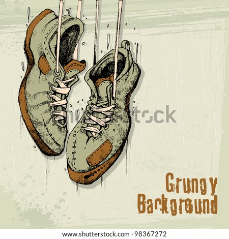 illustration of vintage shoe hanging on grungy background - stock vector