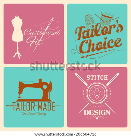 illustration of vintage style label for tailor emblem - stock vector