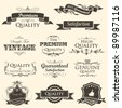 illustration of vintage styled high quality and satisfaction guarantee label - stock vector