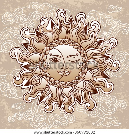 Illustration of vintage stylized magic sun and moon. Hand drawn vector. Can be used for cards, invitations, fabrics, wallpapers, scrap-booking, ornamental template for design and decoration, etc - stock vector