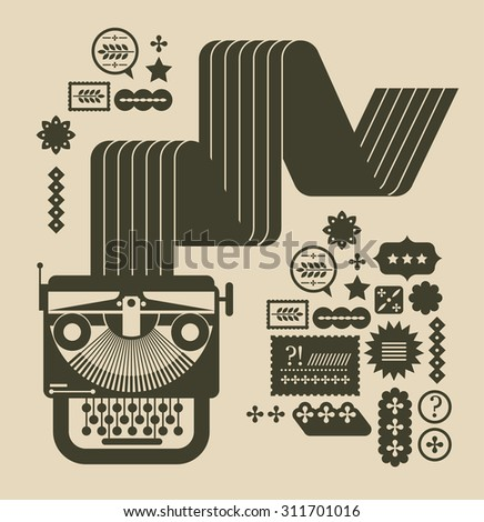 Illustration of vintage typewriter.