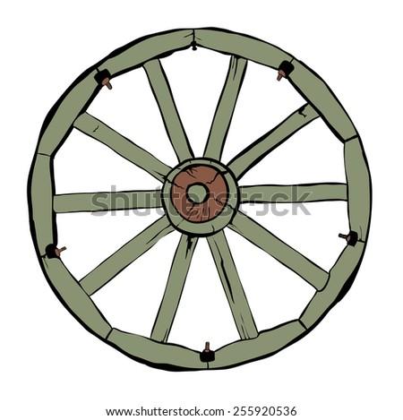 Illustration of Vintage Wooden Wheel Over White Background - stock vector