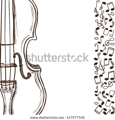 Illustration of violin or bass and music notes - hand drawn style - stock vector