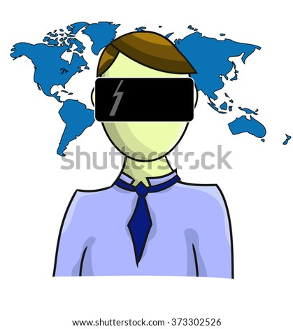 Illustration of virtual reality person with map isolated on white background - stock vector
