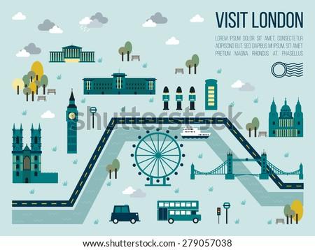 illustration visit london map travel concept stock vector 279057038 shutterstock