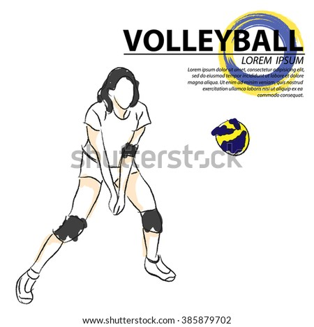 illustration of volleyball. Hand drawn. - stock vector