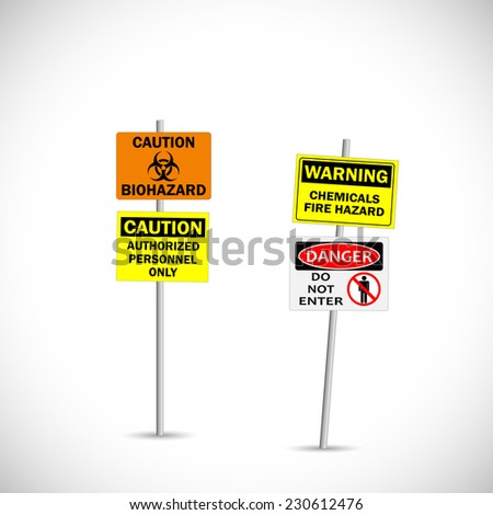 Illustration of warning and caution signs isolated on a white background. - stock vector