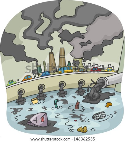 illustration water air pollution stock vector hd royalty free rh shutterstock com air pollution pictures clip art air pollution cartoon clipart