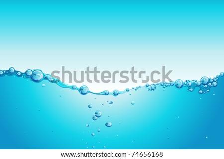 illustration of water splash on blue background - stock vector
