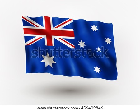 Illustration of waving flag of Australia, isolated flag icon, EPS 10 contains transparency.