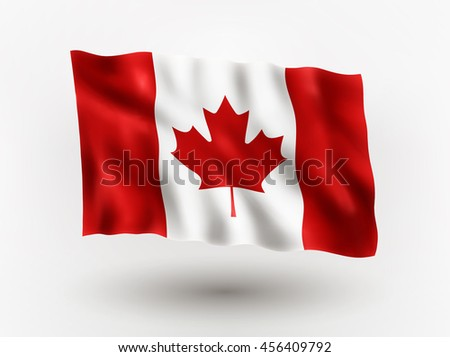 Illustration of waving flag of Canada, isolated flag icon, EPS 10 contains transparency. - stock vector