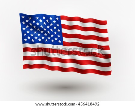 Illustration of waving  flag of USA, isolated flag icon, EPS 10 contains transparency. - stock vector