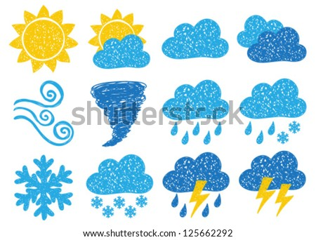 Illustration of weather icons - doodle drawings on white background - stock vector