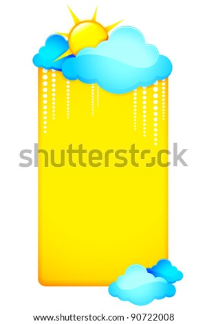 illustration of weather template with clouds and sun - stock vector
