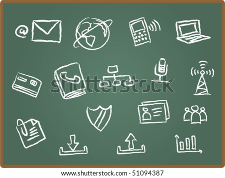 Illustration of web icon on chalk board 2 - stock vector