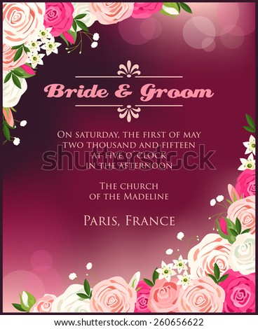 Illustration of wedding invitation with roses