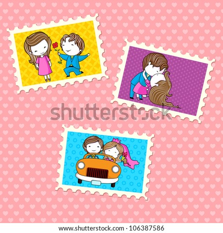 illustration of wedding photo in frame on pattern background - stock vector