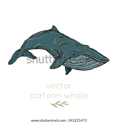 illustration of whale on white background - stock vector
