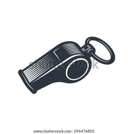 Illustration of whistle. Monochrome style. isolated on white background. - stock vector