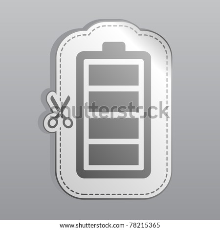Illustration of white sticker battery icon - stock vector
