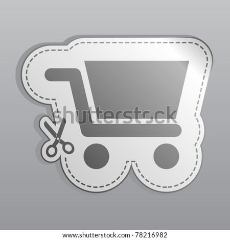 Illustration of white sticker shopping cart icon - stock vector