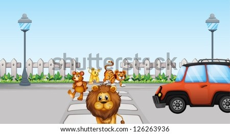 Illustration of wild animals crossing and a car in the road - stock vector