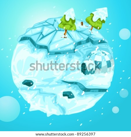 illustration of  winter earth with christmas tree on white - stock vector