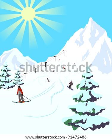 Illustration of winter sport resort - stock vector