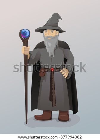 Illustration of Wizard With Magic Wand - stock vector