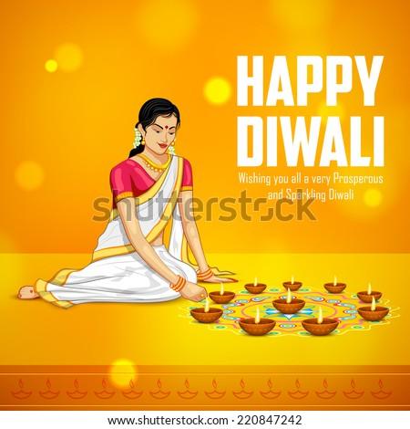 illustration of woman burning diya for Indian festival Diwali - stock vector