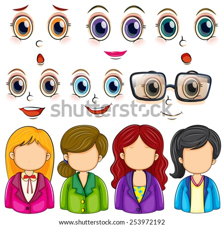 Illustration of woman faces and expressions - stock vector