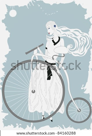 Illustration of woman in vintage dress with old bicycle - stock vector