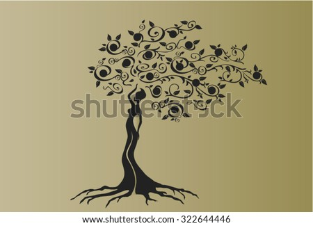 Illustration of woman in woven wood with beautiful branched crown, symbolizing the goddess of fertility and nature.