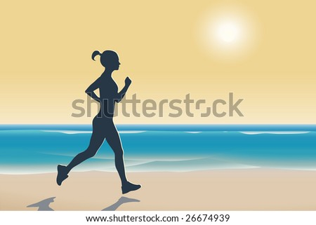 Illustration of woman running on a beach at sunset - stock vector