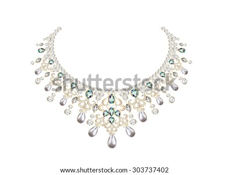 illustration of woman's necklace with pearls and precious stones - stock vector