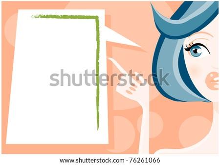 Illustration of woman talking - stock vector