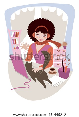 illustration of woman with headphones working at laptop