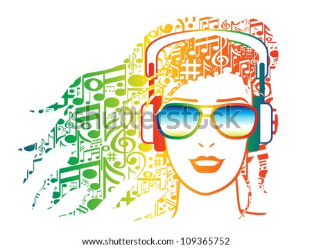 Illustration of woman with musical notes for hair wearing headphones. - stock vector