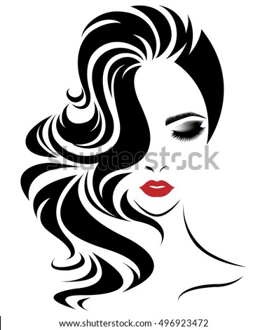 Illustration Of Women Long Hair Style Icon Logo Face On White Background Vector