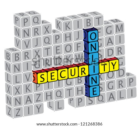 Illustration of word online security using alphabet(text) cubes. The graphic can represent concepts like protection against virus attack, protection against phishing & hacking, online security, etc.