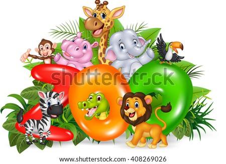 Illustration of Word zoo with cartoon wild animal - stock vector