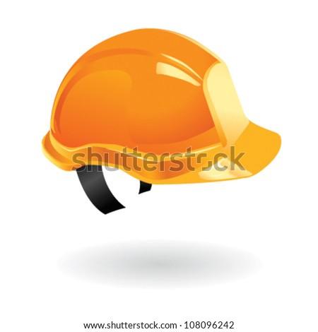 Illustration of worker helmet on building sites - stock vector
