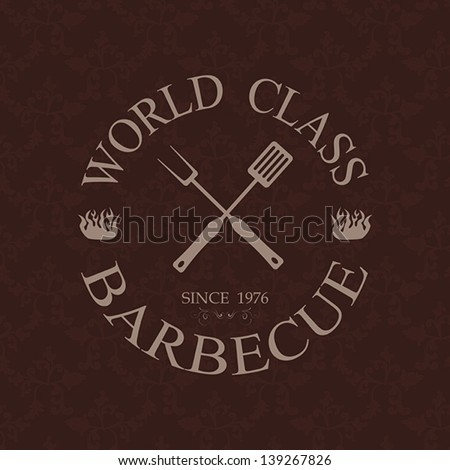 illustration of world class barbecue label, stamp logo design element.