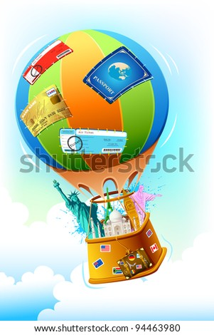 illustration of world famous monument and other travel item in hot air balloon - stock vector