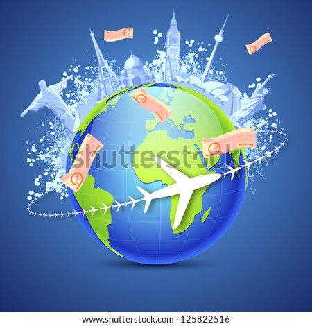 illustration of world famous monuments around globe with air tickets - stock vector