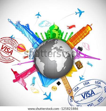 illustration of world famous monuments around globe with air tickets and airplane - stock vector