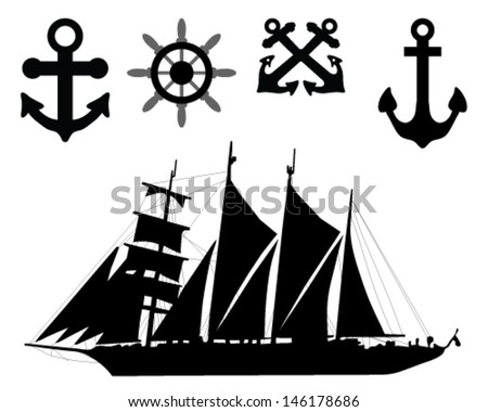 Illustration of world map,  anchors, rudders and sailboat-vector - stock vector